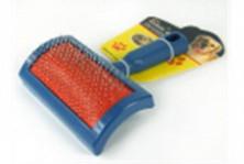 Пуходерка пластмассовая синяя 16*10,5см, №3