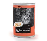 Консервы/влажный корм для кошек Tasty с вкусным мясом 415 gr.