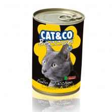 Conserve/hrana umeda pentru pisici Cat&Co chicken and turkey cu pui si curcan 405 gr.