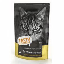 Консервы/влажный корм для кошек Tasty с вкусной курицей 85 gr.