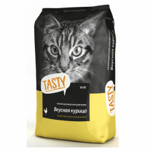 Сухой корм для кошек Tasty с вкусной курицей 10 kg.