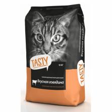 Сухой корм для кошек Tasty с вкусной говядиной 10 kg.